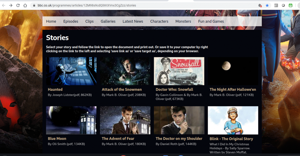 bbc screen shot doctor who stories